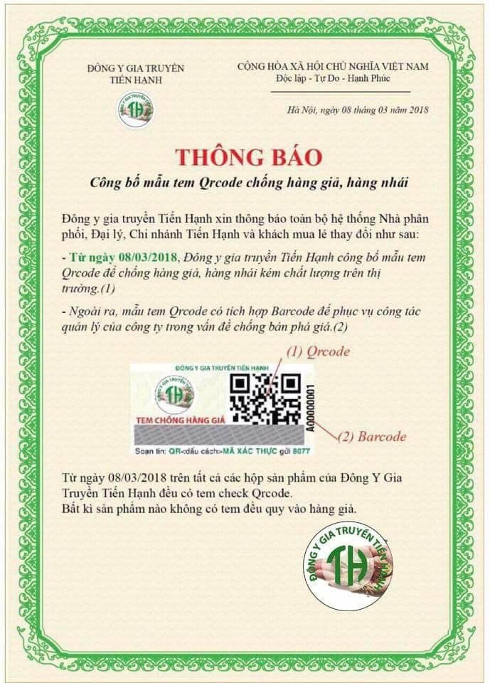 Tem Qr Code nhà thuốc đông y Tiến Hạnh